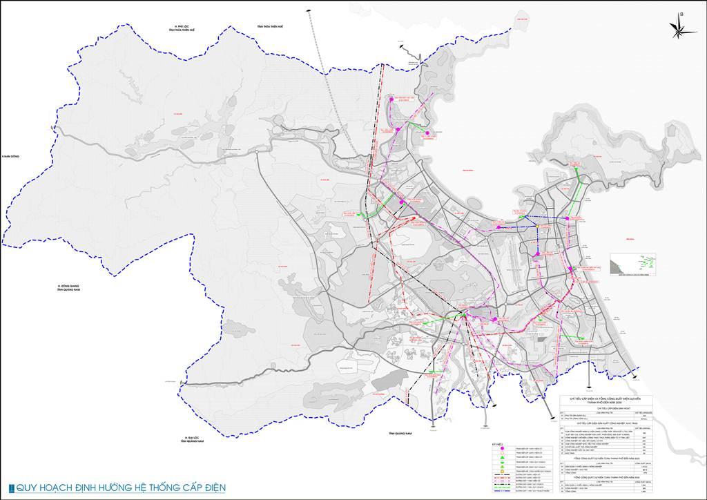 Bản đồ định hướng hệ thống cấp điện Đà Nẵng