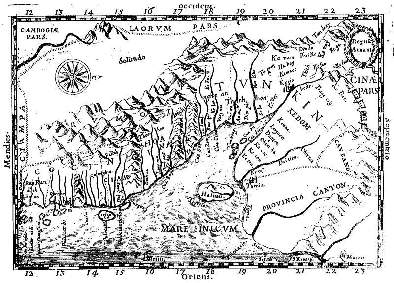 """Bản đồ Annam được vẽ bởi Alexandre de Rhodes có địa danh """"Cua han""""."""