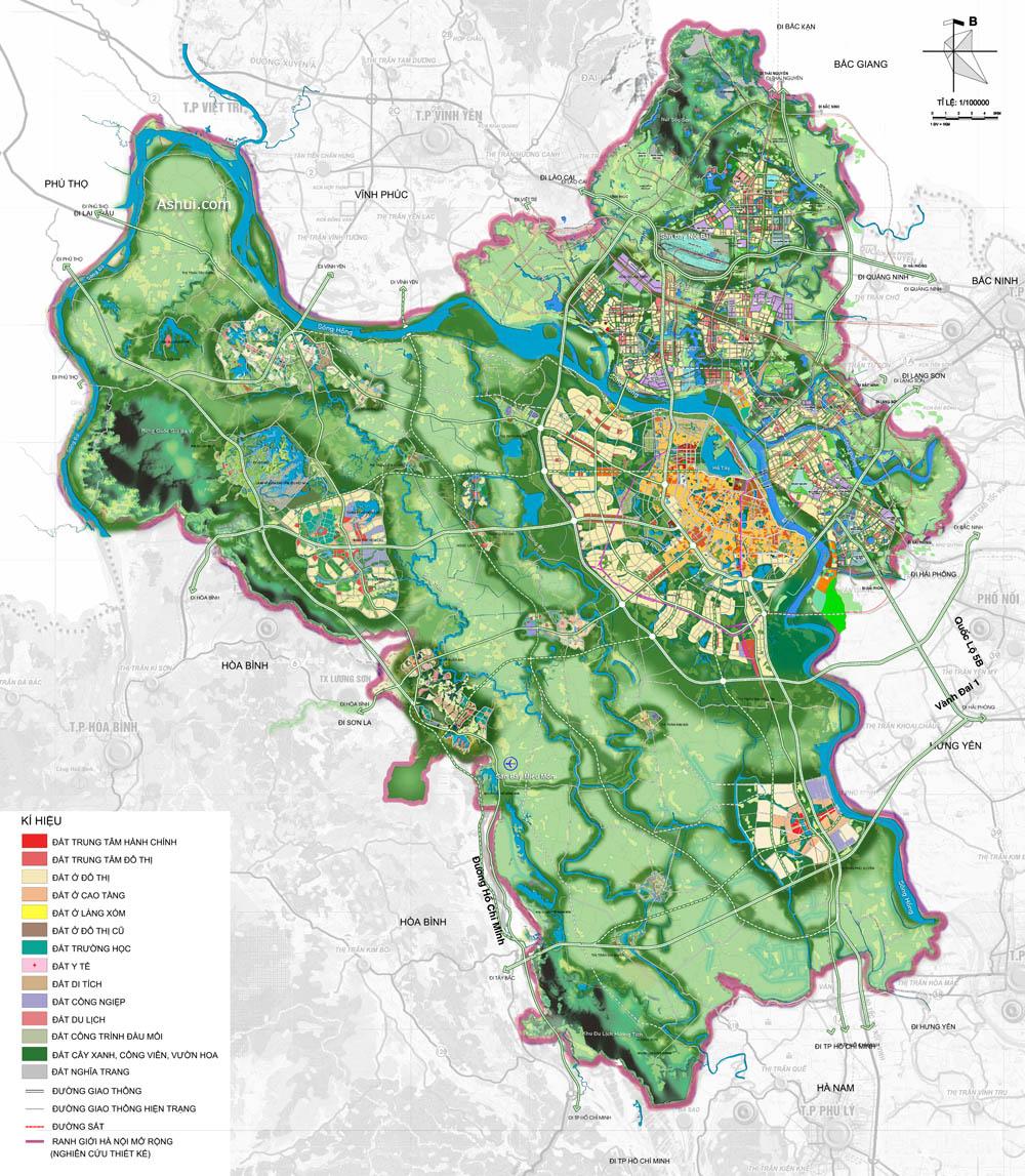 bản đồ hiện trạng sử dụng đất hà nội