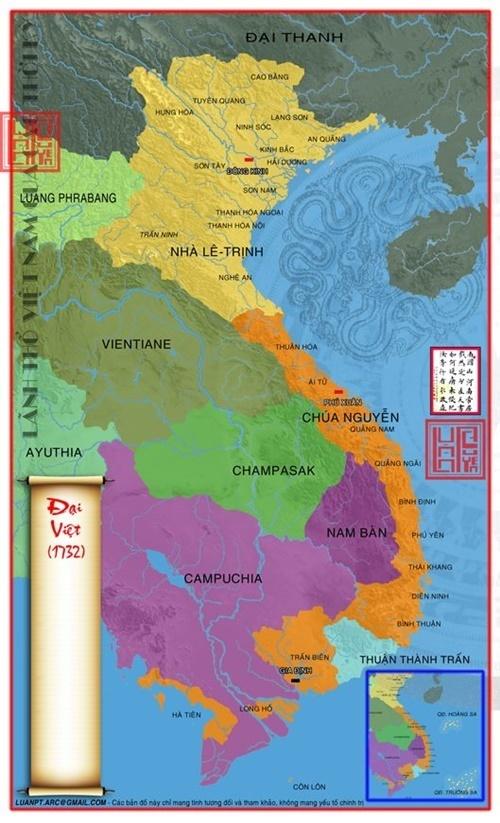 bản đồ lãnh thổ Việt Nam năm 1732