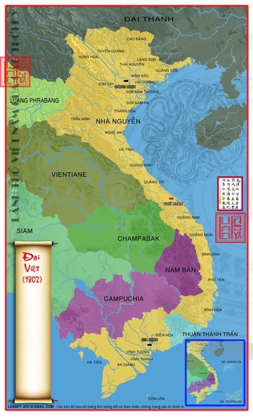 1802 Lãnh thổ Đại Việt được thống nhất sau nhiều năm bị chia cắt
