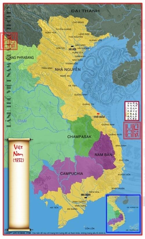 bản đồ lãnh thổ Việt Nam 1832