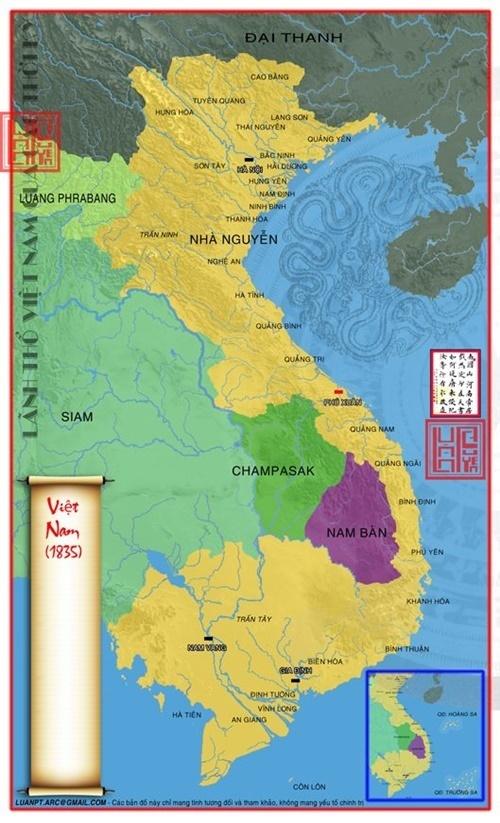 Vào năm 1835 Lãnh thổ Việt Nam vươn tới cực đại