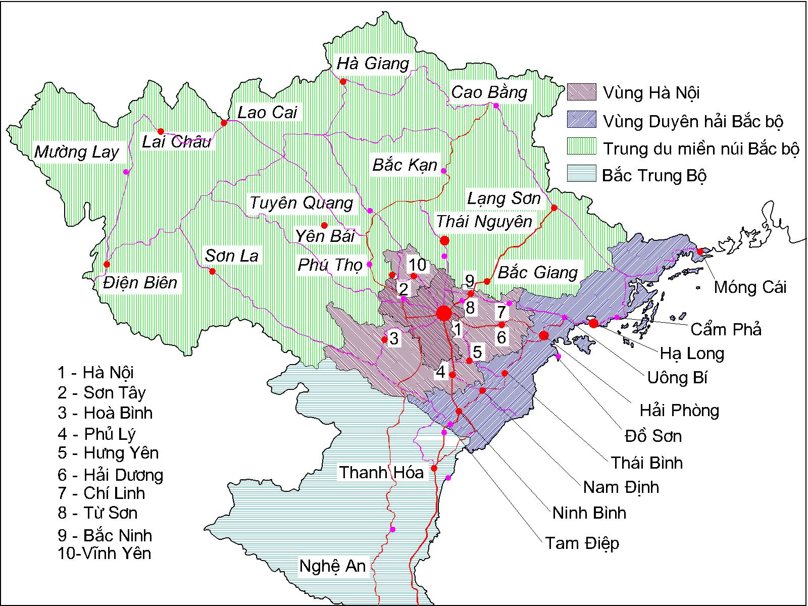 Bản đồ miền Bắc Việt Nam chia theo khu vực kinh tế