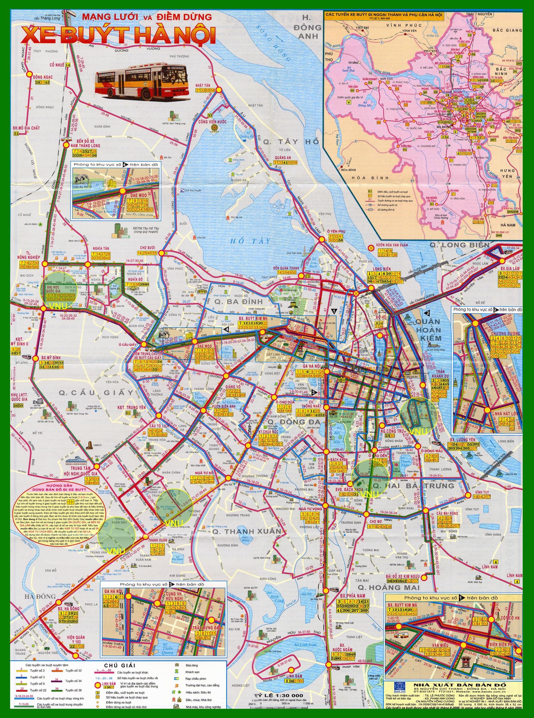 Bản đồ các tuyến xe buýt thành phố Hà Nội