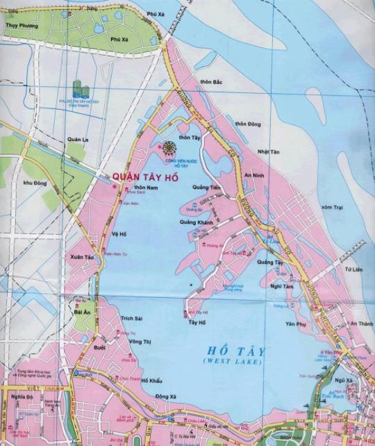 Bản đồ du lịch Hà Nội - Quận Tây Hồ