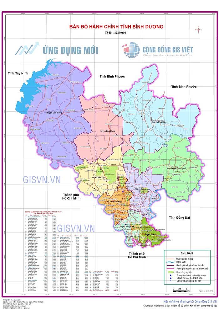 Bản đồ hành chính tỉnh Bình Dương mới nhất