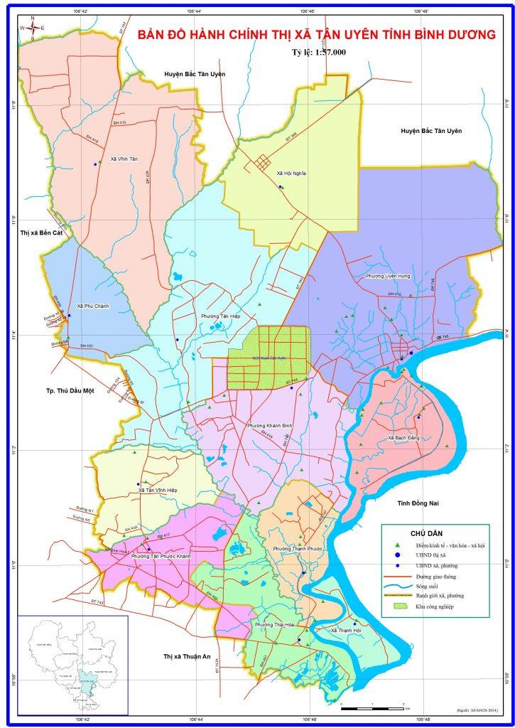 Bản đồ hành chính thị xã Tân Uyên