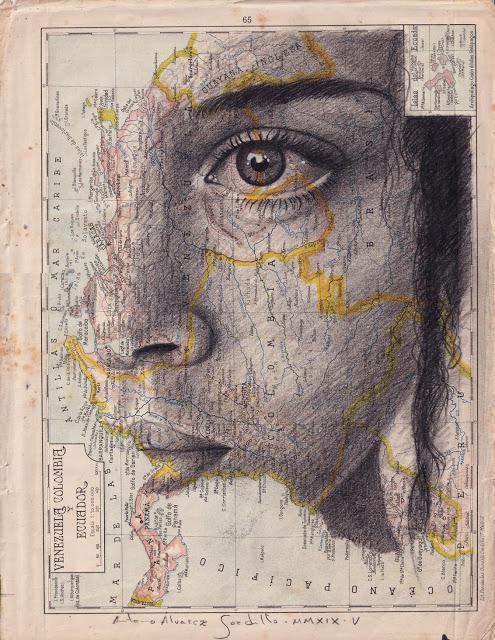 Tiêu đề: Venezuela, Colombia và Ecuador, 2019. Kỹ thuật: bút chì béo. Hỗ trợ: giấy. bản đồ của Atlas Salinas phiên bản hai mươi đầu in offset. Ed 1946 Các biện pháp: 40 x 50 cm Số đo tại chỗ: 33 x 25 cm Các biện pháp đóng khung: 46 x 55 cm Đóng khung € 175 Có khung : € 150