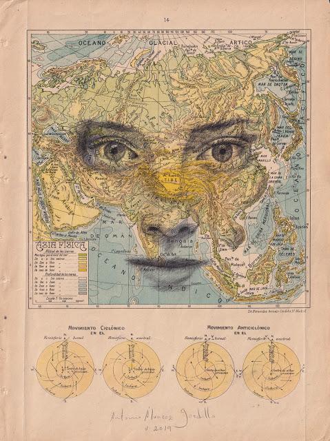 Tiêu đề: Vật lý châu Á, 2019 Kỹ thuật: bút chì béo. Hỗ trợ: giấy. bản đồ của Atlas Salinas phiên bản hai mươi đầu in offset. Ed 1946 Các biện pháp: 40 x 50 cm Các biện pháp đóng khung: 46 x 55 cm Đóng khung € 175
