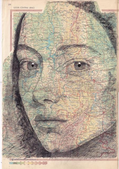 Tiêu đề: María, 2019 Kỹ thuật: vẽ, mực Trung Quốc. Supp ort: giấy. bản đồ của Thế giới Pergamon . Ed. 1968. Litva. Các biện pháp tại chỗ: 40 x 27 cm Số đo khung: 50 x 61 Đóng khung € 220 Không đóng khung € 180