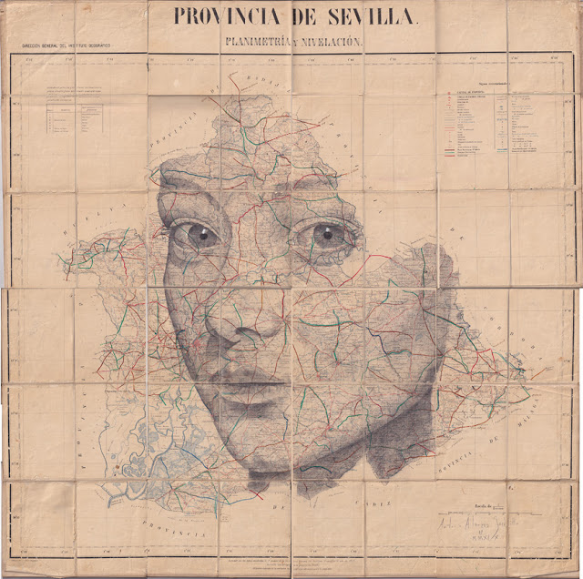 Tiêu đề: Tỉnh Seville. Kế hoạch và san lấp mặt bằng, 2019. Kỹ thuật: than chì. Hỗ trợ: giấy. Entelado, bản đồ của Viện Địa lý Quốc gia 1922. Số đo: 106 x 106 cm Đóng khung: 130x130 Các biện pháp đóng khung: Đóng khung € 1200