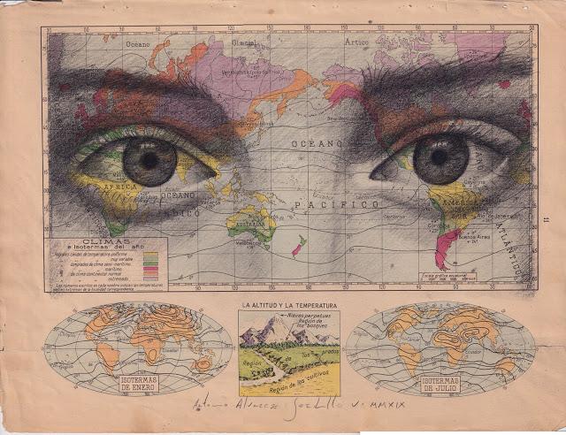 Tiêu đề: Khí hậu, 2019 Kỹ thuật: bút chì béo. Hỗ trợ: giấy. bản đồ của Atlas Salinas phiên bản hai mươi đầu in offset. Ed 1946 Các biện pháp: 40 x 50 cm Các biện pháp đóng khung: 46 x 55 cm Đóng khung € 175
