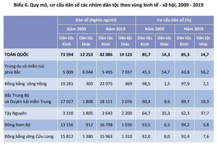 Biểu 6. Quy mô, cơ cấu dân số các nhóm dân tộc theo vùng kinh tế - xã hội, 2009 - 2019